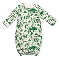 Organic Baby Gown, Campground Green