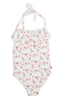 Oeuf Halter Bathing Suit, White Flowers