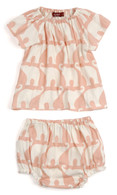 Dress & Bloomer Set, Rose Elephant