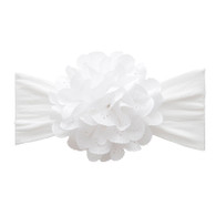 Eyelet Flower Bow, White