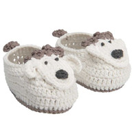 Lamb Hand-Crocheted Booties, 0-6 mo.
