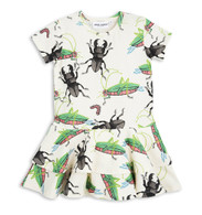 Mini Rodini Insects Frill Dress, Off White