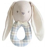 Linen Louie Bunny Grab Rattle, Blue