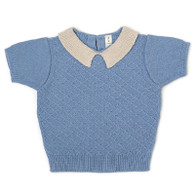 Fin & Vince Knit Collar Top, Bluebird