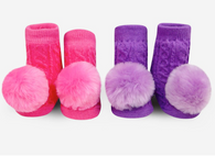 Rattle Socks, Pink & Purple Pom Pom