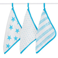 3-Pack Washcloth Set, Blue Stars