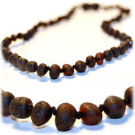 Certified Baltic Amber Teething Necklace, Raw Cherry