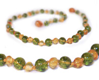 Certified Baltic Amber Teething Necklace, Lemon & Peridot