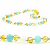 Certified Baltic Amber Teething Necklace, White Agate & Aquamarine