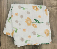 Muslin Swaddle, Mustard Floral