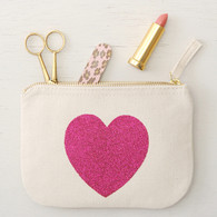 Glitter Heart Little Canvas Pouch