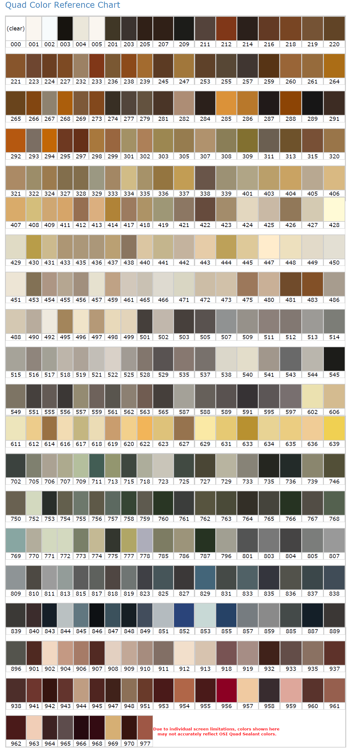 Colorfast Caulk Color Chart Images Free Any Chart Examples