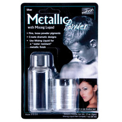 Mehron Metallic Powder SILVER with MIXING LIQUID