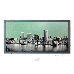 Baltimore Skyline with City Map Silk Screen Art