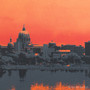 Harrisburg Sunset Silk Screen Detail