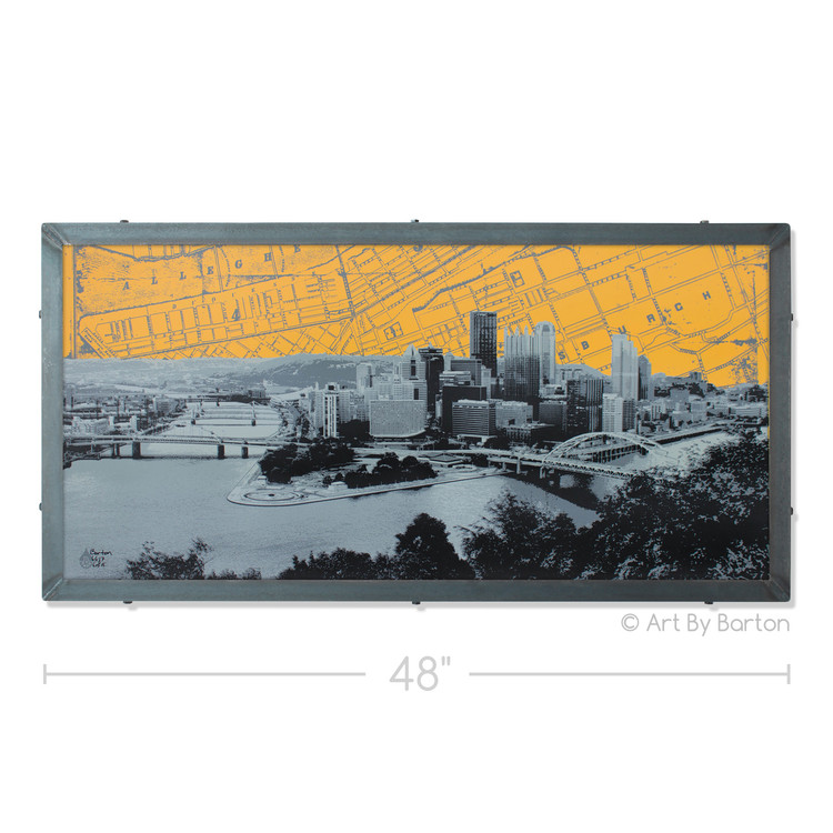 Pittsburgh Skyline Map Silk Screen Print