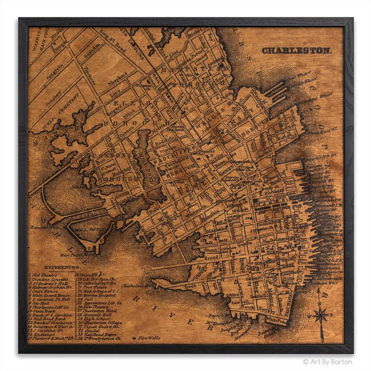 Charleston map on wood
