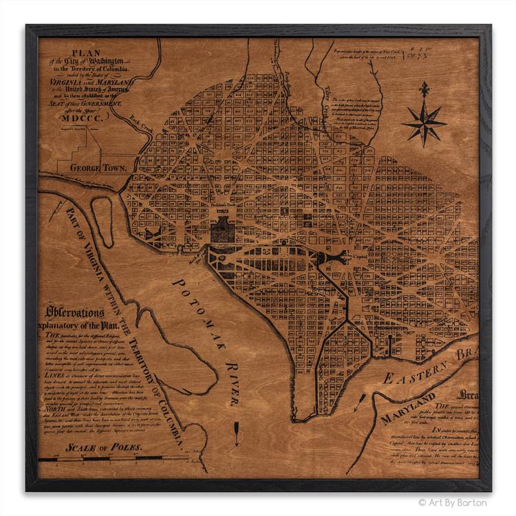 Washington D.C. map on wood