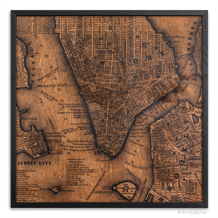 New York city map on wood