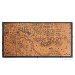 Large Baltimore map on wood