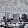 Little Grey Baltimore Skyline with map silk screen prints