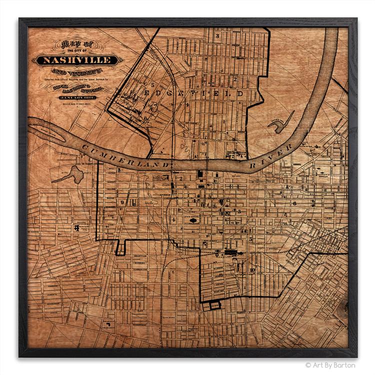 Nashville Map - Silkscreen Print on Wood