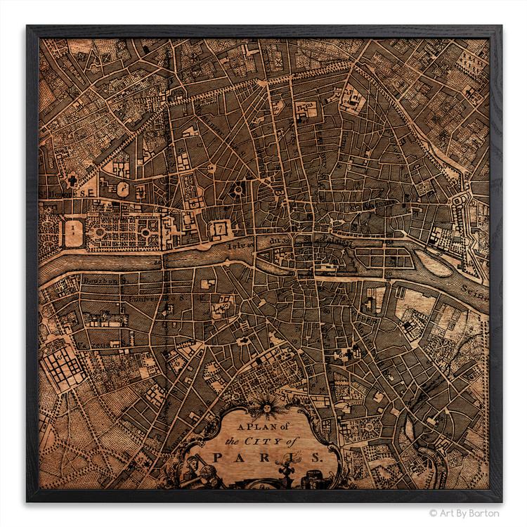 Paris Map - Silkscreen Print on Wood