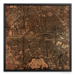 Paris Map - Silkscreen Print on Wood