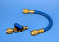"Ball Valve Shut-off C/W 8"" Hose - Attaches in line with existing R-12 Hoses - BLUE"