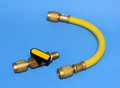 "Ball Valve Shut-off C/W 8"" Hose - Attaches in line with existing R-12 Hoses - YELLOW"