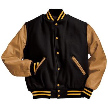 Black Wool Body : Lt. Gold Leather Sleeves Varsity Jacket