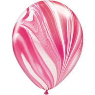 Latex Balloons SuperAgate Pink & White | Qualatex