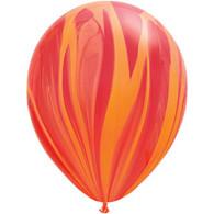 Latex SuperAgate 30cm Red Orange Balloons | Qualatex