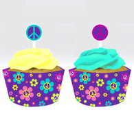 Groovy Girl Party Cupcake Wrap with Topper