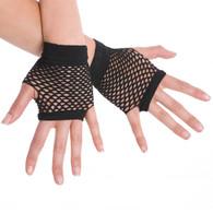 Dr Tom's Short Fingerless Fishnet Gloves Black