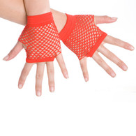 Dr Tom's Short Fingerless Fishnet Gloves Red