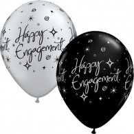 Black & Silver Happy Engagement Latex Balloons