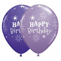 Latex Balloons Birthday Sparkle Purple Violet & Spring Lilac | Qualatex