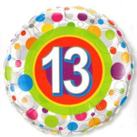 Number 13 Coloured Spot Foil Balloon