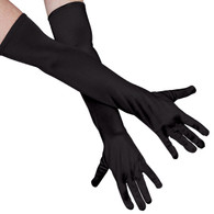Dr Tom's Long Black Satin Gloves