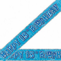 Happy 18th Birthday Blue & Silver Foil Banner