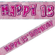 Happy 18th Birthday Pink & Silver Foil Banner