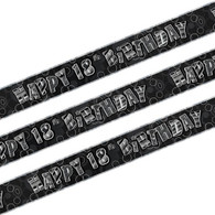 Happy 18th Birthday Black & Silver Foil Banner
