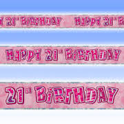 Happy 21st Birthday Pink & Silver Foil Banner