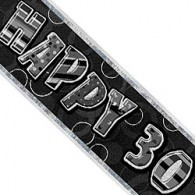 Happy 30th Birthday Black & Silver Foil Banner