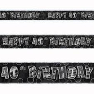 Happy 40th Birthday Black & Silver Foil Banner