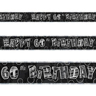 Happy 60th Birthday Black & Silver Foil Banner