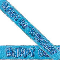 Happy 60th Birthday Blue & Silver Foil Banner