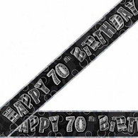 Happy 70th Birthday Black & Silver Foil Banner