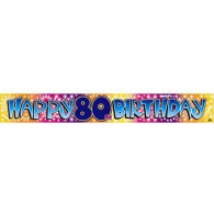 Happy 80th Birthday MultiColoured Foil Banner